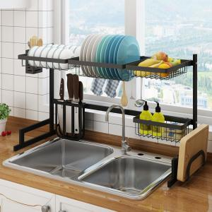 37 4 Stainless Steel Black Dish Drying Rack Over Kitchen Sink All In One Kitchen Space Saver Washing Dishes Solution
