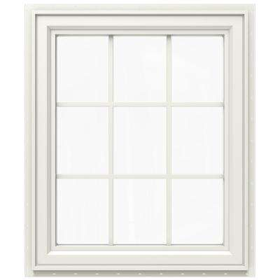 29.5 in. x 35.5 in. V-4500 Series Right-Hand Casement Vinyl Window with Grids - White