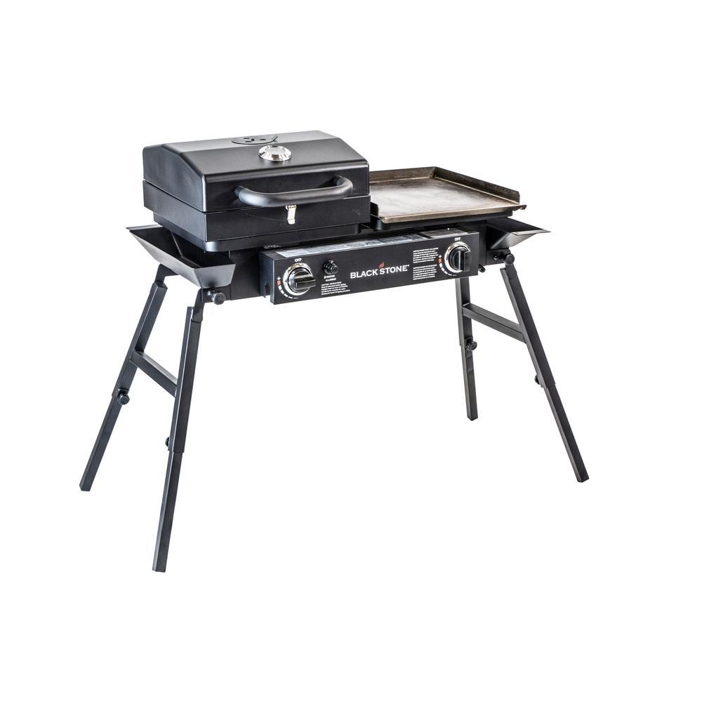 Tailgater 2-Burner Portable Griddle Grill Combo in Black
