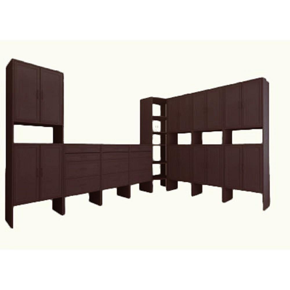 18 ft. 14.57 in. D x 206.75 in. W x 83 in. H Mocha Media Room Wood Closet System