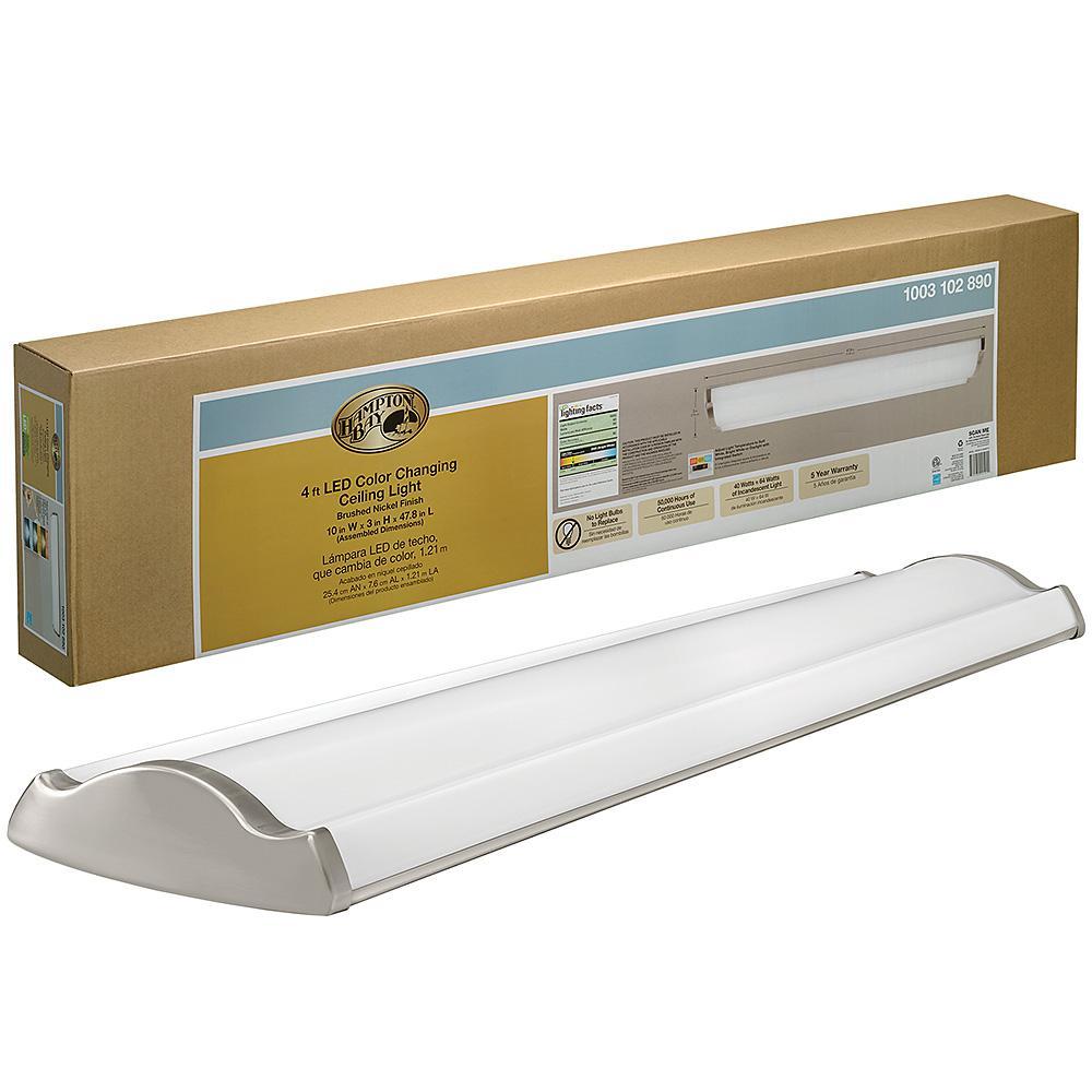 4 ft. Vintage Industrial Style Brushed Nickel Rectangle LED Flush Mount Ceiling Light 3600 Lumens 3000K 4000K 5000K