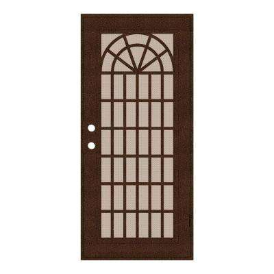 32 in. x 80 in. Trellis Copperclad Right-Hand Surface Mount Security Door with Desert Sand Perforated Metal Screen