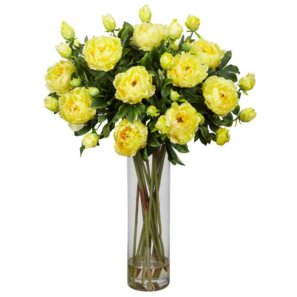 H Yellow Giant Peony Silk Flower Arrangement