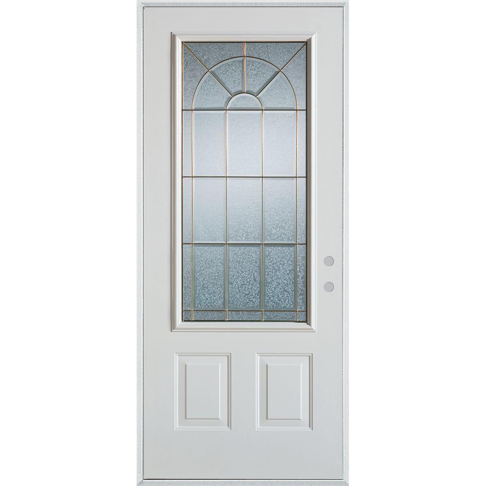 33.375 in. x 82.375 in. Geometric Zinc 3/4 Lite 2-Panel Painted White Left-Hand Inswing Steel Prehung Front Door