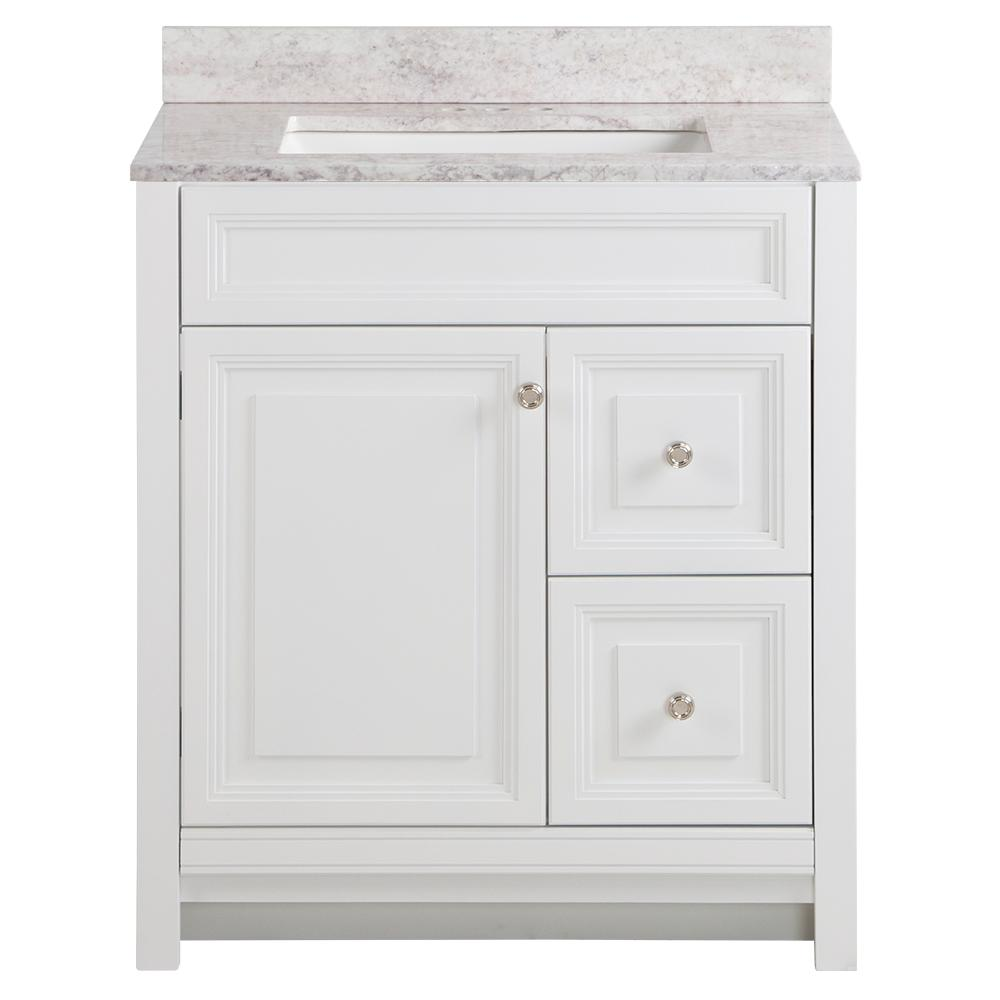 Home Decorators Collection Brinkhill 31 in. W x 22 in. D Bathroom Vanity in White with Stone Effect Vanity Top in Winter Mist with White Sink