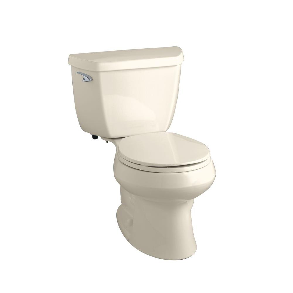 KOHLER Wellworth Classic 2-Piece 1.6 GPF Round Front Toilet with Class Five Flushing Technology in Almond-DISCONTINUED