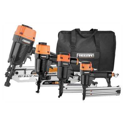 Pneumatic 21-Degree Framing and Finish Nail Gun Combo Kit with Canvas Bag and Fasteners (4-Piece)