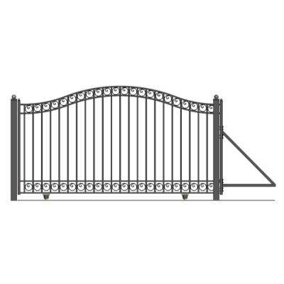 Dublin Style 18 ft. x 6 ft. Black Steel Single Slide Driveway with Gate Opener Fence Gate