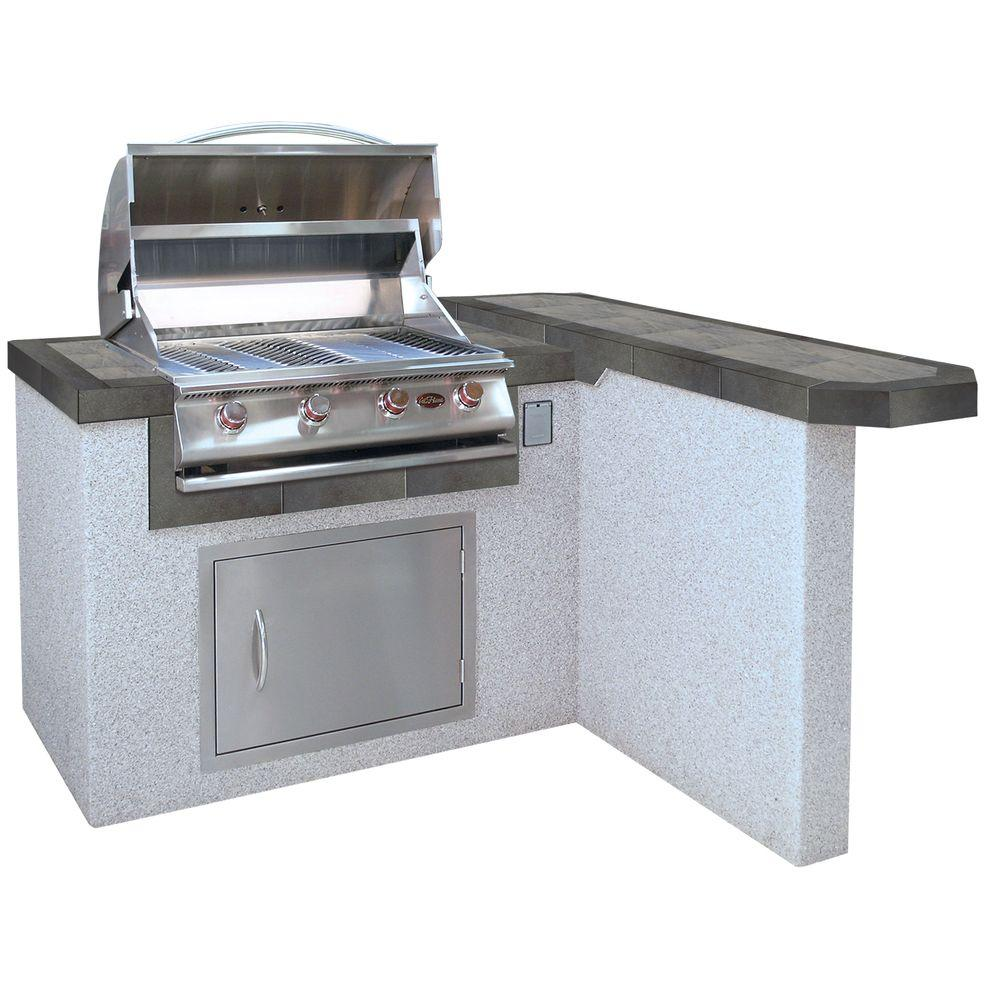 4 ft. Stucco Grill Island with 4-Burner Propane Gas Grill in