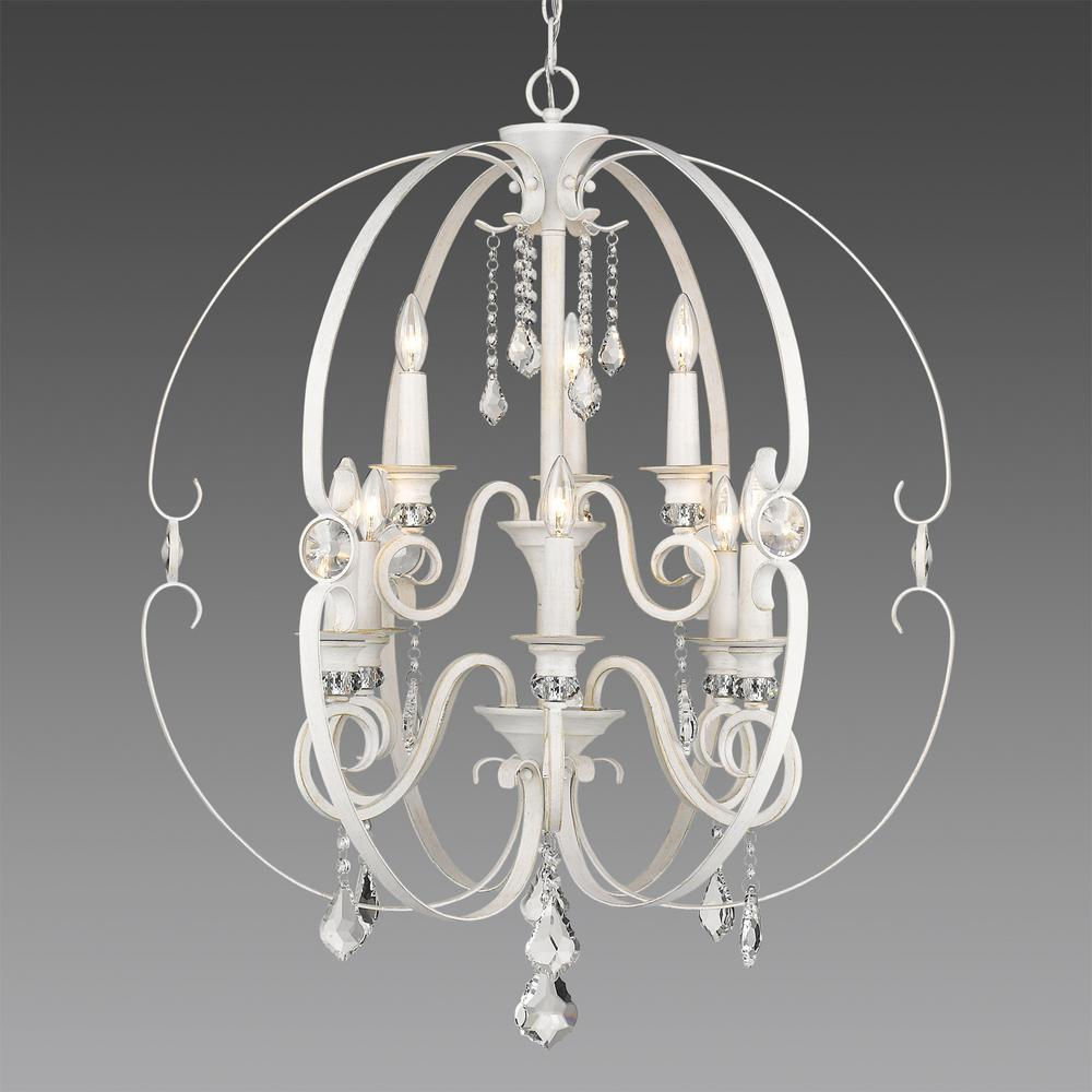 Ella 9-Light French White Chandelier Light