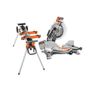 15 Amp 10 in. Dual Miter Saw with LED Cut Line Indicator and Professional Compact Miter Saw Stand