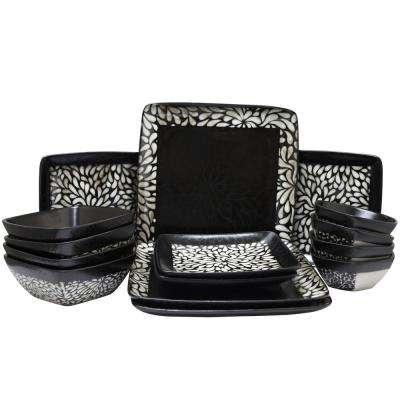 Desert Bloom 16-Piece Black Dinnerware Set