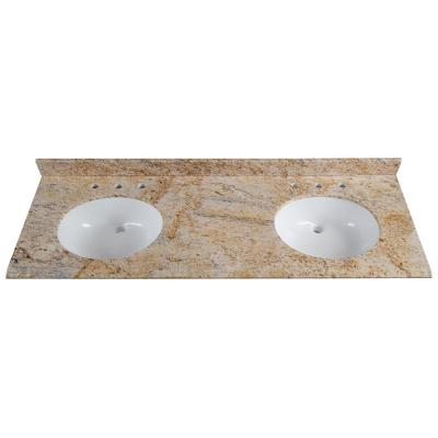 61 in. x 22 in. Stone Effects Double Sink Vanity Top in Tuscan Sun with White Sinks