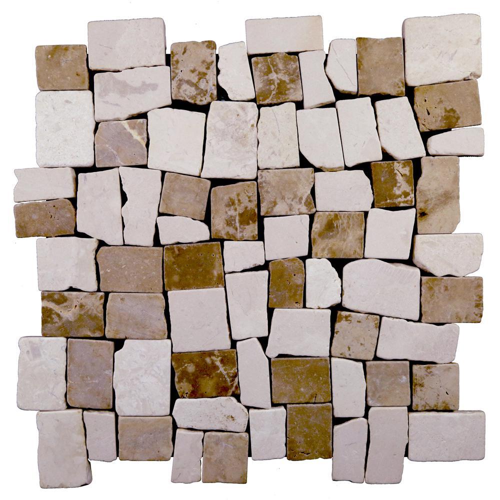 Block Tile Tan, White Blend 11-3/4 in. x 11-3/4 in. x 9.5mm Mesh-Mounted Mosaic Tile (10.659 sq. ft. / case)