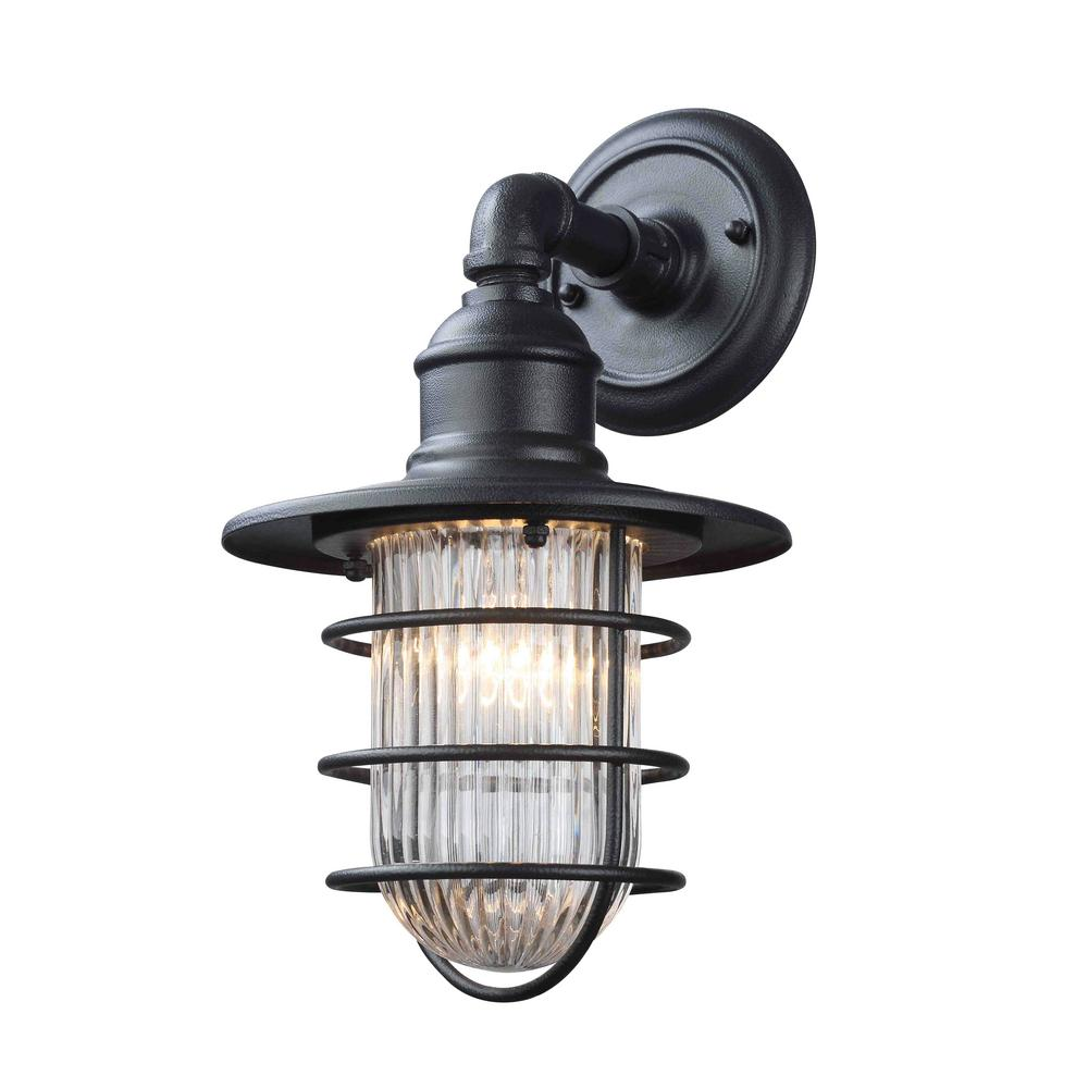 Freeport 1 Light Antique Iron Outdoor Sconce With Clear Ribbed Glass