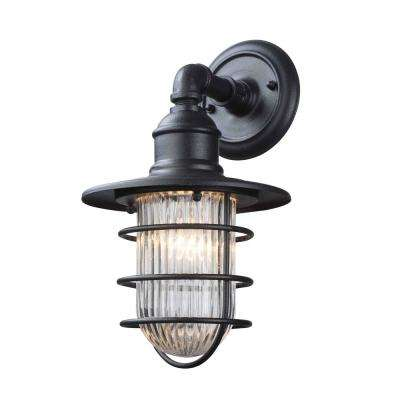 Freeport 1-Light Antique Iron Outdoor Sconce with Clear Ribbed Glass