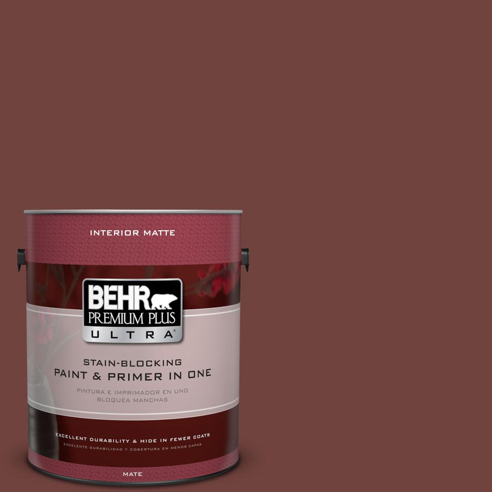 1 gal. #160F-7 Burnished Mahogany Flat/Matte Interior Paint and Primer in