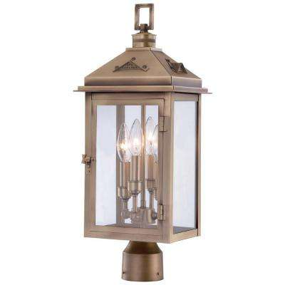 Eastbury 4-Light Colonial Brass Outdoor Post Mount