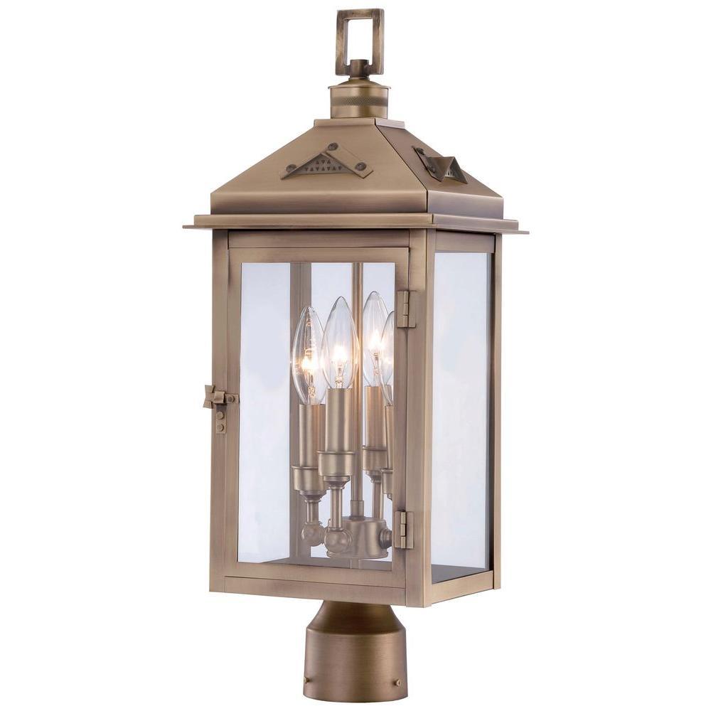 Eastbury 4-Light Colonial Brass Outdoor Post Mount