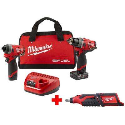 M12 FUEL 12-Volt Lithium-Ion Brushless Cordless Hammer Drill and Impact Driver Combo Kit (2-Tool) with Free Rotary Tool