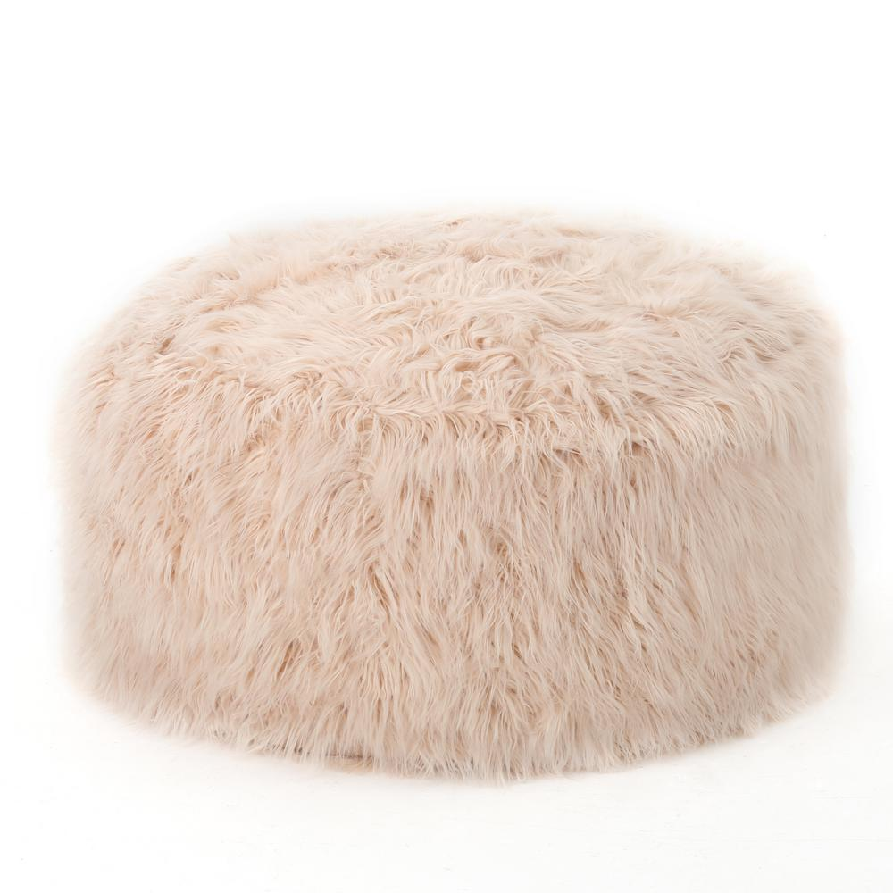 NobleHouse Noble House 5 ft. Pastel Pink Long Faux Fur Bean Bag