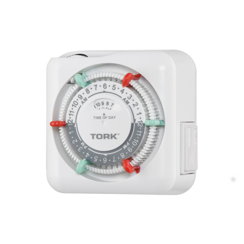 tork 15 amp 24 hour indoor plug in mechanical appliance timer with 215 amp 24 hour indoor plug in mechanical appliance timer with 2 polarized outlets, white
