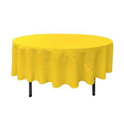 90 in. Light Yellow Polyester Poplin Round Tablecloth