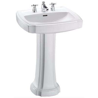 Guinevere 27 in. Pedestal Combo Bathroom Sink with 8 in. Faucet Holes in Cotton White