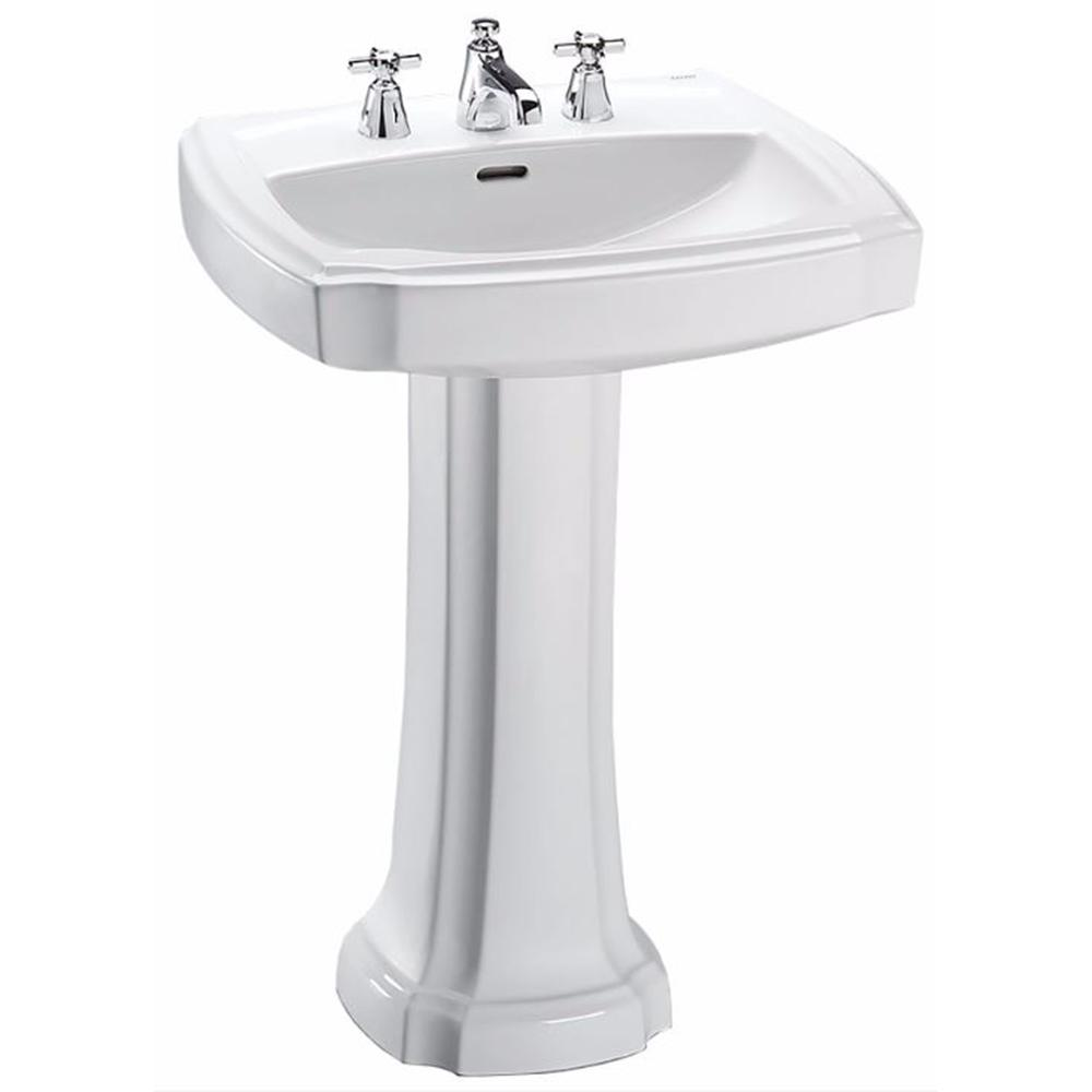 TOTO Guinevere 25 in. Pedestal Combo Bathroom Sink with 8 in. Faucet ...