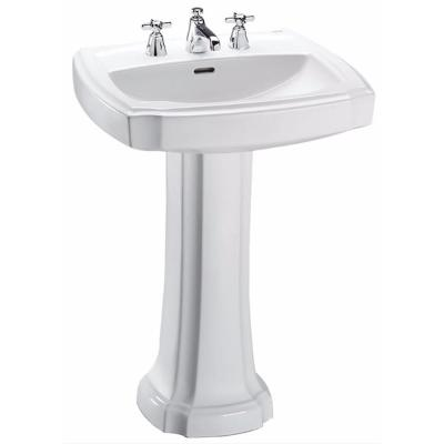 Guinevere 25 in. Pedestal Combo Bathroom Sink with 8 in. Faucet Holes in Cotton White