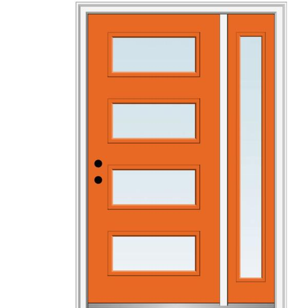 Mmi Door 51 In X 81 75 In Celeste Clear Low E Glass Right Hand 4 Lite Eclectic Painted Steel Prehung Front Door With Sidelite Z0350966r The Home Depot