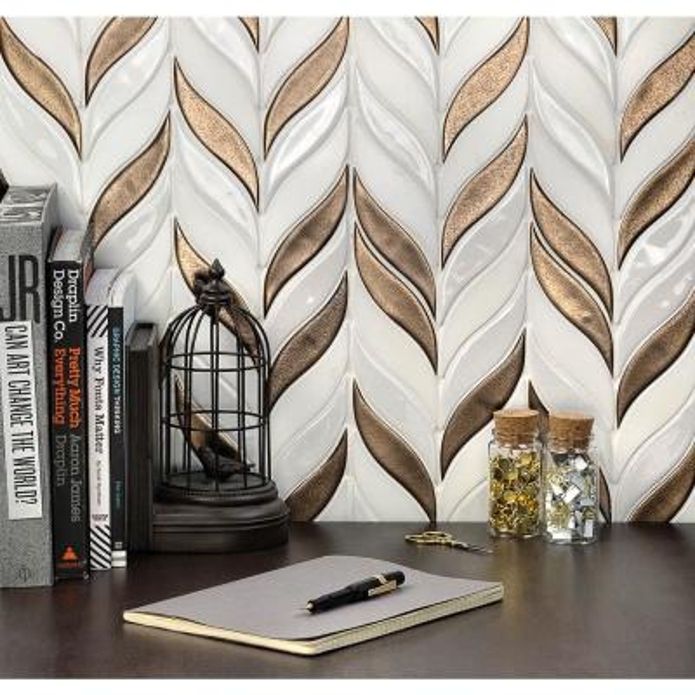 Oracle Sprig Metallic Copper 11-3/4 in. x 10-1/2 in. x 10mm Glazed Ceramic Mosaic Tile