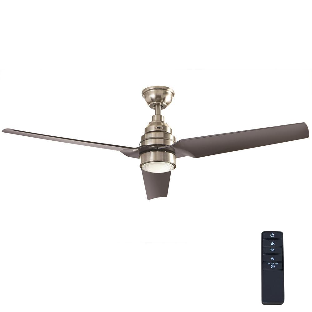 Home Decorators Collection Varuchi 52 In Integrated Led Indoor Brushed Nickel Ceiling Fan With