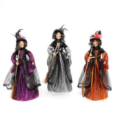 Assorted 24 in. H Standing Witch Figurines with Brooms