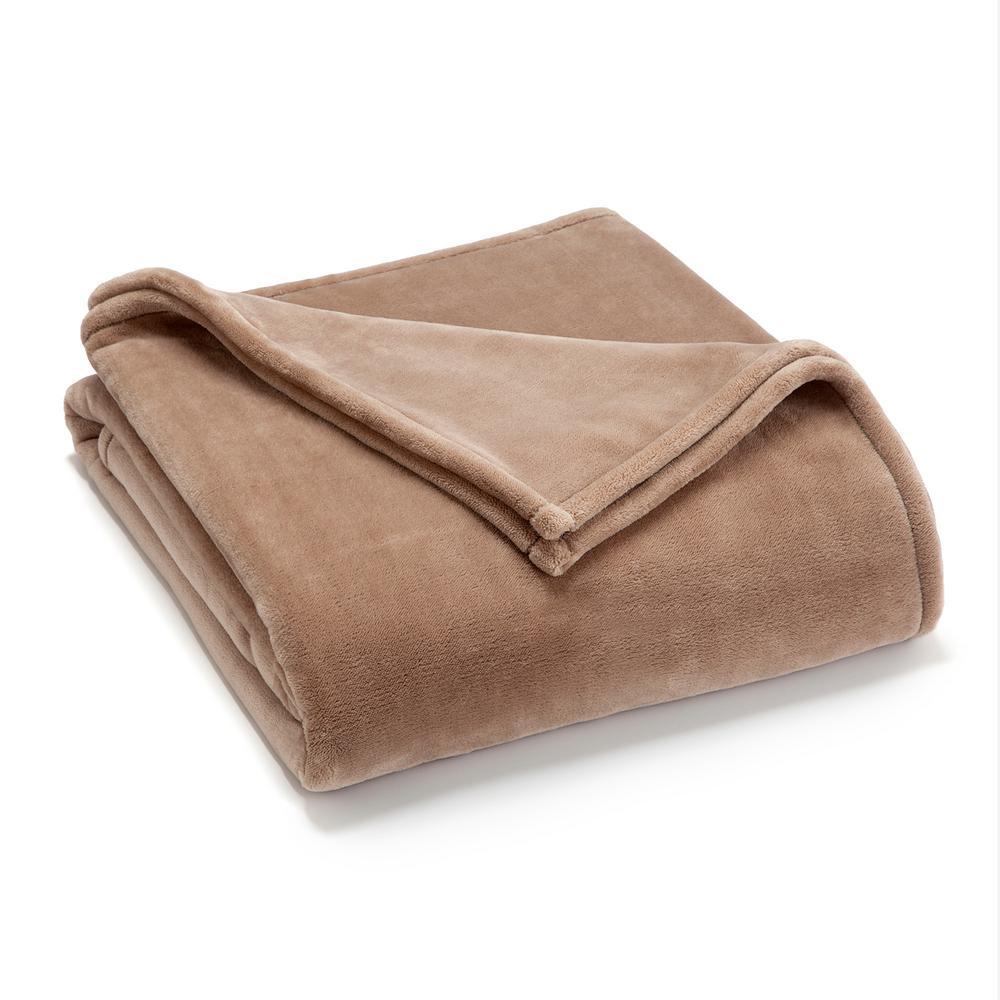 Sheared Mink Khaki Polyester King Blanket