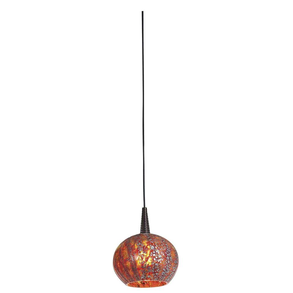 Illumine 1-Light LED Pendant Brushed Steel Finish Red Ribbed Opaline Glass-DISCONTINUED