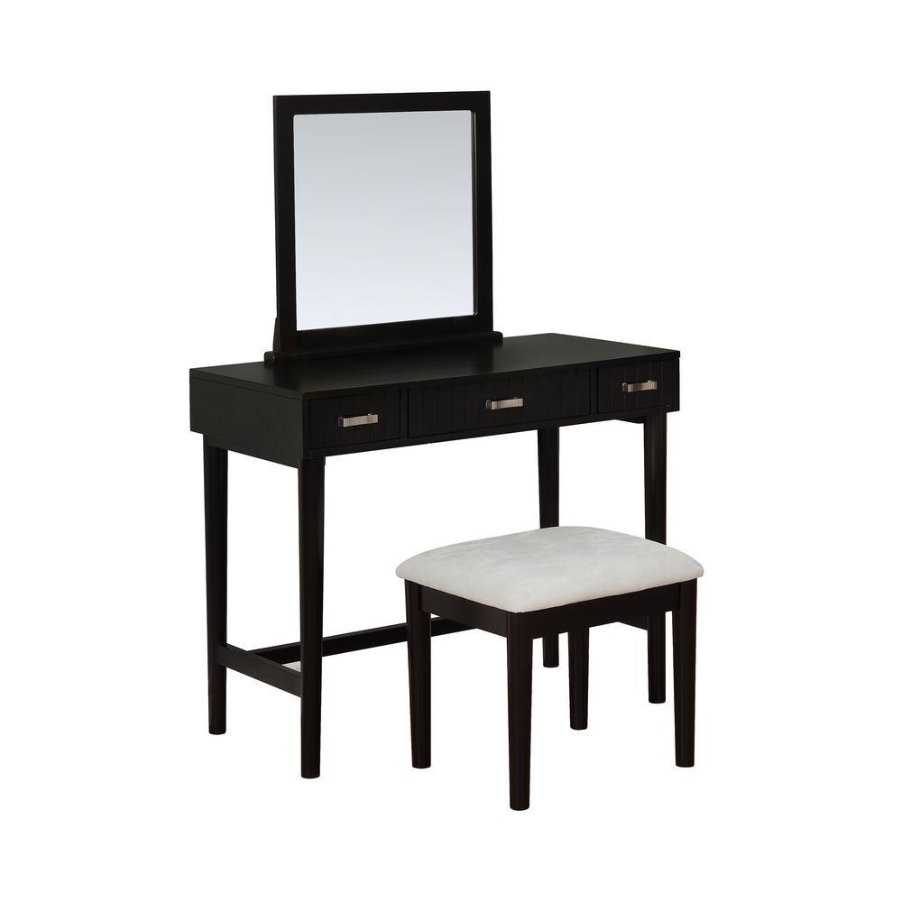 Linon Home Decor Garbo 2-Piece Wooden Black Vanity Set