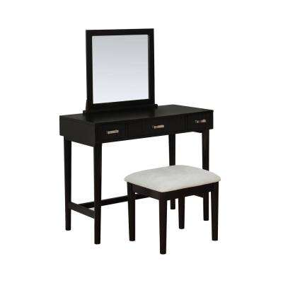Garbo 2-Piece Wooden Black Vanity Set