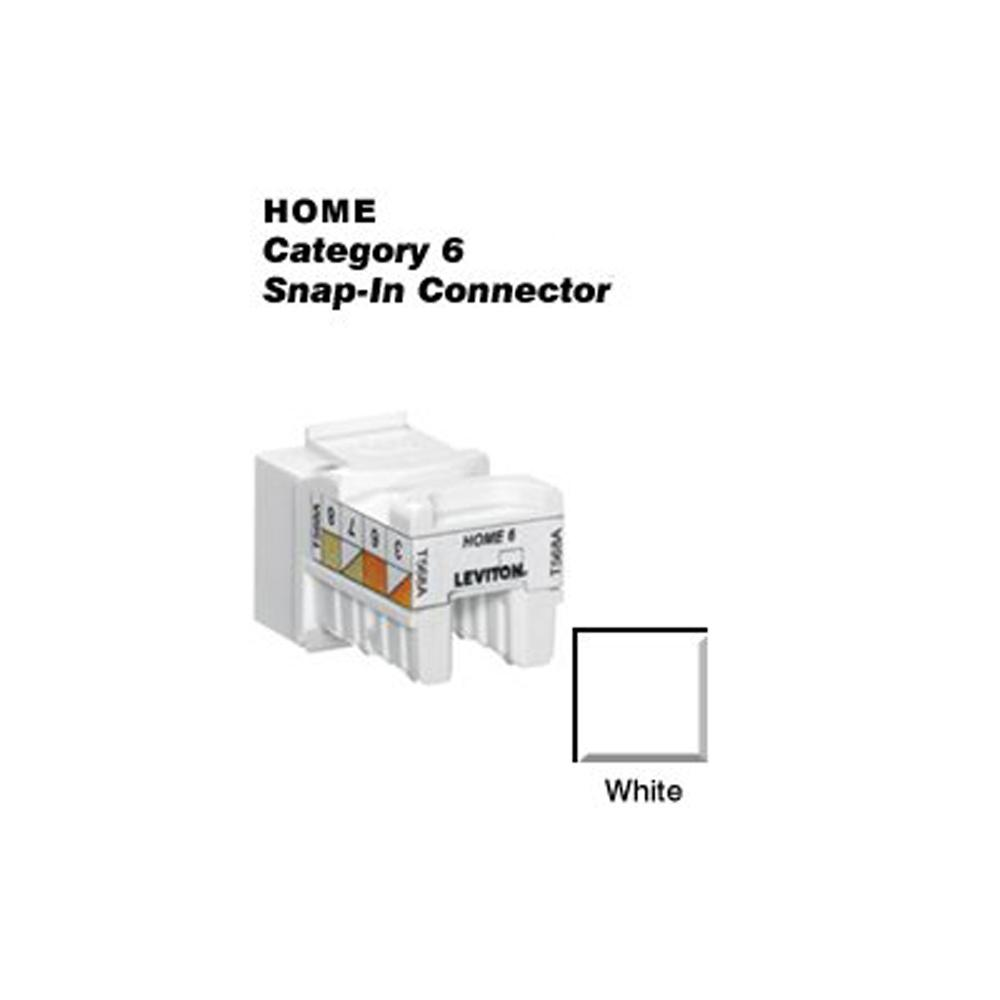 Leviton Wall Jacks Plates The Home Depot Cat5 Jack Wiring Diagram Quickport Cat 6 Snap In T568a B Connector White