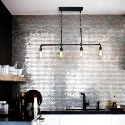 Punk Industrial 4-Light Black Iron Kitchen Island Linear Pendant with Easy Maintenance Exposed Design