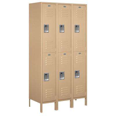 52000 Series 45 in. W x 78 in. H x 18 in. D Double Tier Extra Wide Metal Locker Unassembled in Tan