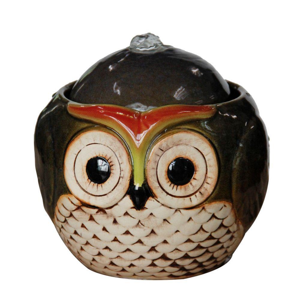 7 in. Ceramic Owl Tabletop Fountain
