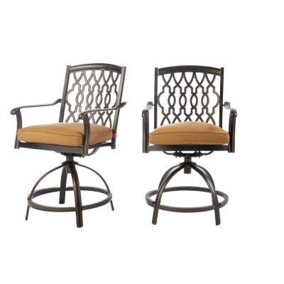 Ridge Falls Dark Brown Aluminum Outdoor Patio Swivel Dining Chair with Sunbrella Canvas Cork Tan Cushions (2-Pack)