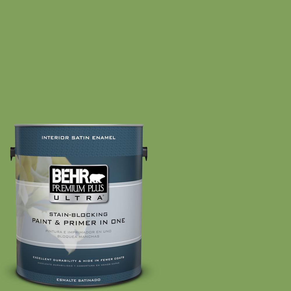 BEHR Premium Plus Ultra 1-gal. #P380-6 Springview Green Satin Enamel Interior Paint