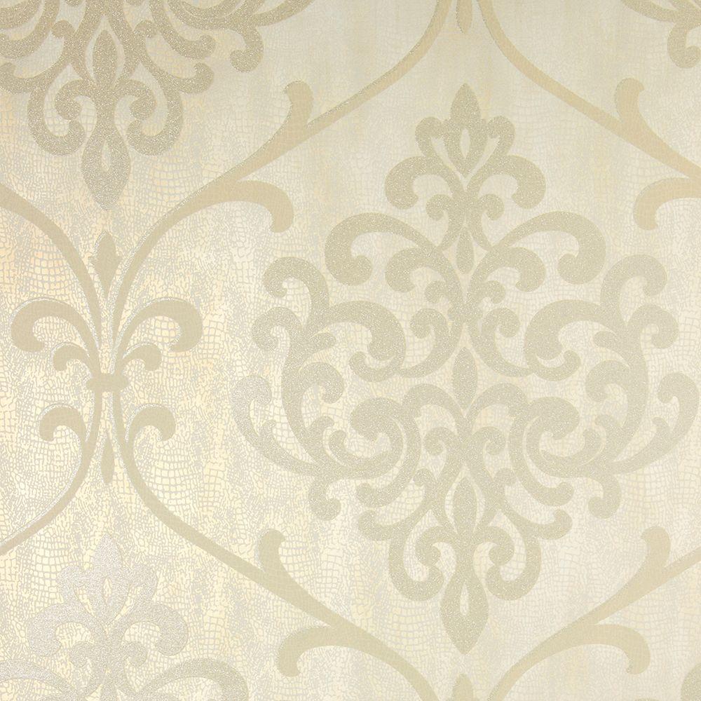 Ambrosia Champagne (Beige) Glitter Damask Wallpaper