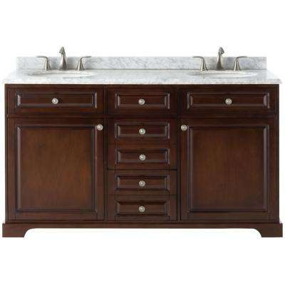 Highclere 60 in. W x 22 in. D Double Bath Vanity in Cocoa with Natural Marble Vanity Top in Carrera White