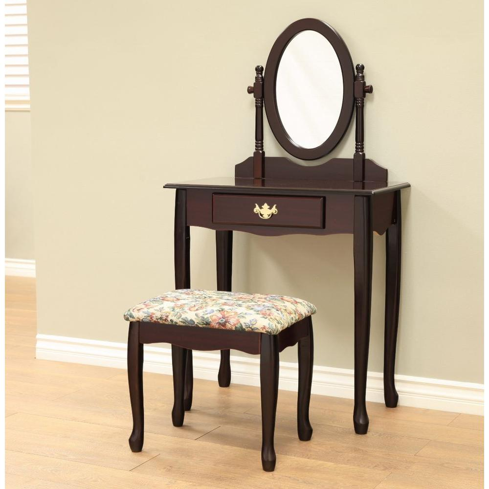 Frenchi Home Furnishing 3-Piece Cherry Vanity Set-H-7-C - The Home Depot