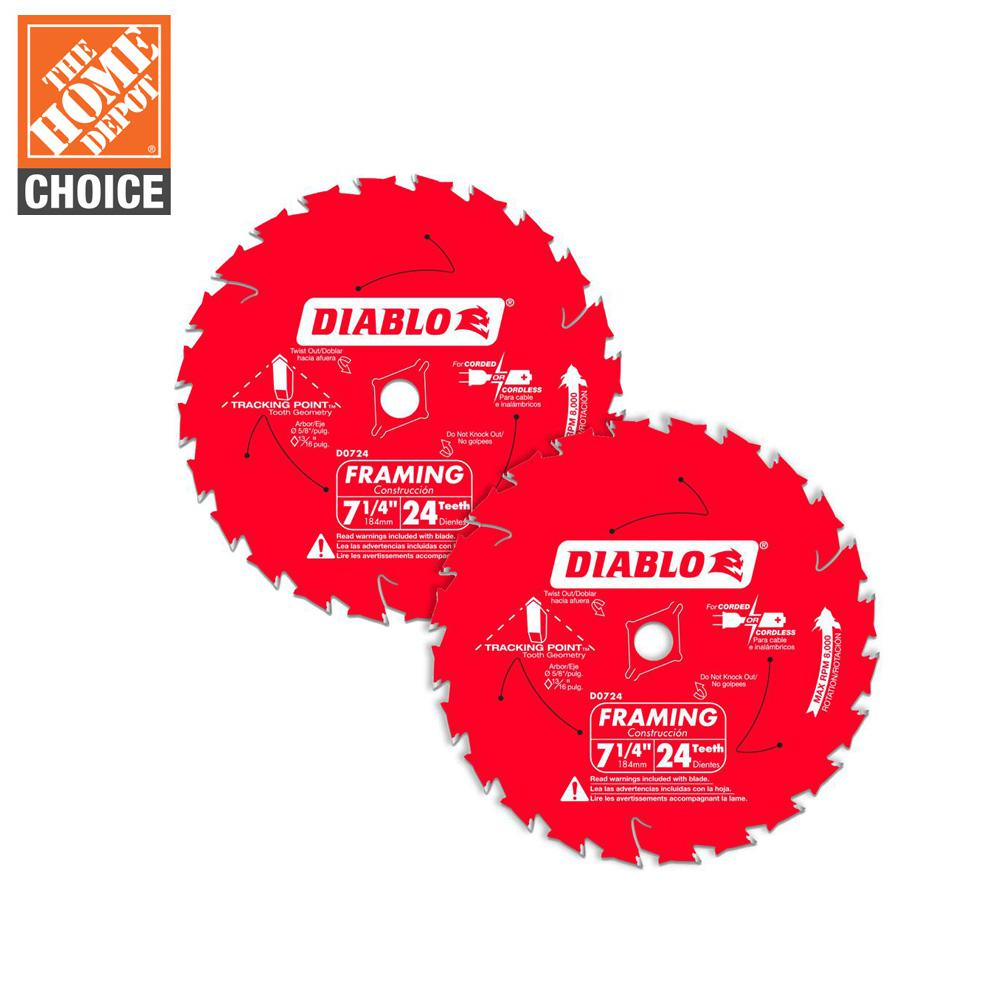 Diablo 7 1 4 In 24 Tooth Carbide Framing Circular Saw Blade Value Pack 2 Pack D0724rvp The Home Depot