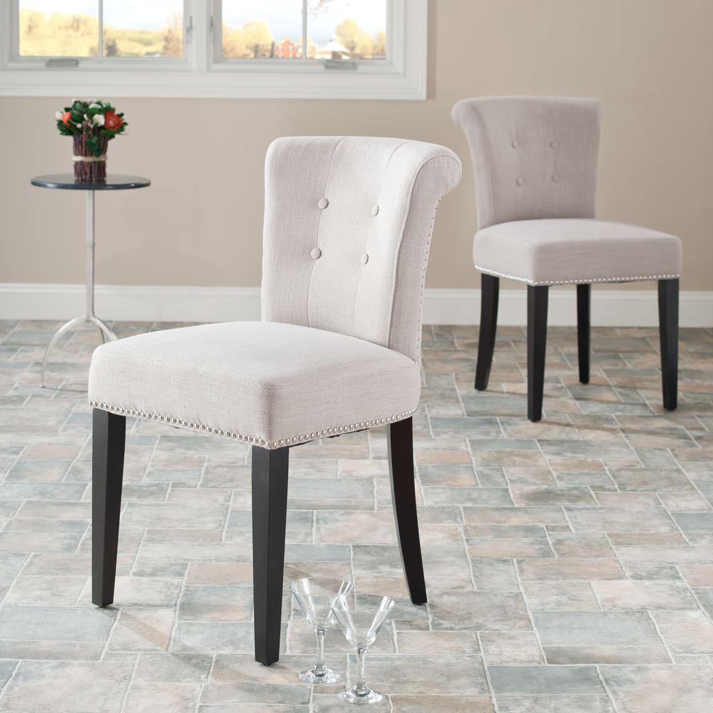 Safavieh Britannia True Taupe/Espresso Linen Blend Side Chair (Set of 2)