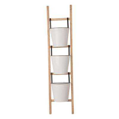 42 in. H Enameled Metal/Wooden 3-Tier Leaning Ladder Planter Stand